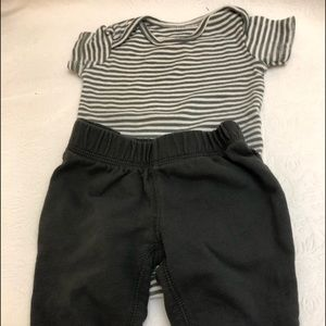 Boys Carters 2pc Outfit Gray White SS Shirt Pants